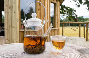 Black tea served in glass tea pot